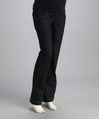 Indigo Denim Over-Belly Maternity Straight-Leg Jeans