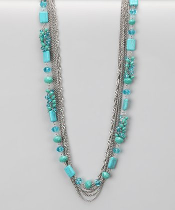 Silver & Turquoise Waterfall Necklace