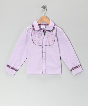 Lavender & Purple Floral Butterfly Blouse - Girls