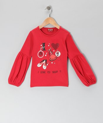 Red 'I Love to Shop' Tee - Girls