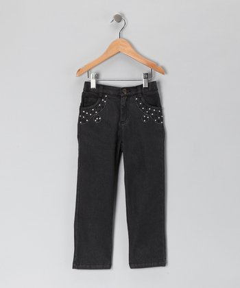 Gray Rhinestone & Swirl Stitch Straight-Leg Jeans - Girls