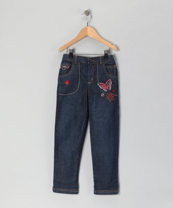Blue Butterfly & Floral Heart Straight-Leg Jeans - Girls
