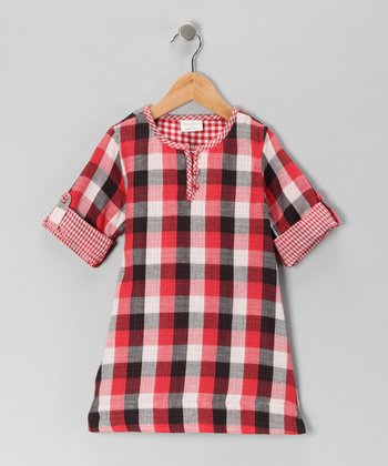 Red Plaid Dress - Girls