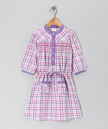 Purple Plaid Smocked Dress - Girls