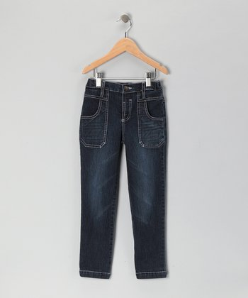 Blue Deep Pocket Straight-Leg Denim Jeans - Girls