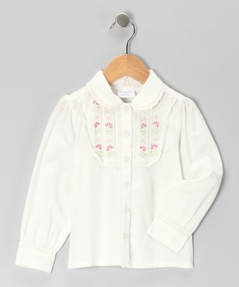 White & Pink Floral Lace Blouse - Girls