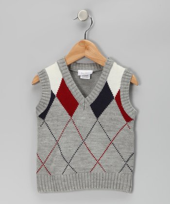 Gray Argyle V-Neck Sweater Vest - Boys