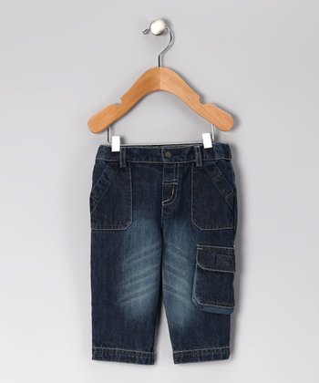 Dark Distressed Cargo Jeans - Infant & Toddler