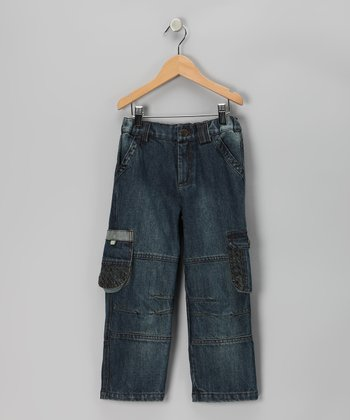 Denim Blue Army Cargo Pants - Boys