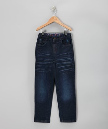 Denim Blue Butterfly Jeans - Girls