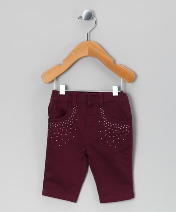 Burgundy Studded Pants - Infant & Toddler
