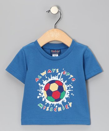 Blue 'Mischief' Soccer Tee - Infant, Toddler & Boys