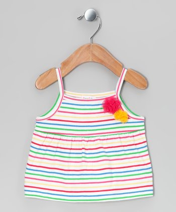 Green & Pink Stripe Rosette Tank - Infant, Toddler & Girls