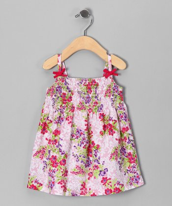Pink & Lilac Floral Shirred Dress - Infant, Toddler & Girls