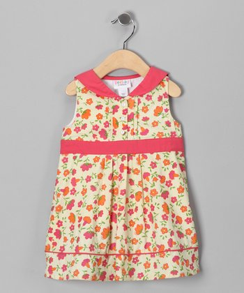 Coral & Lemon Floral Shift Dress - Infant