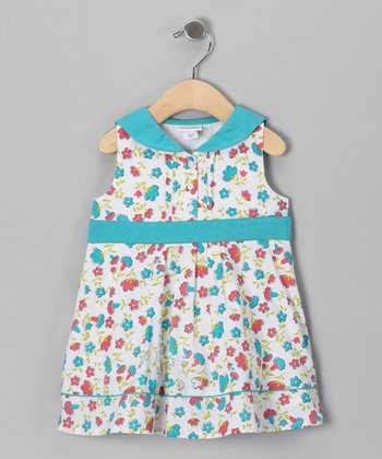 Turquoise & White Floral Sailor Dress - Infant, Toddler & Girls