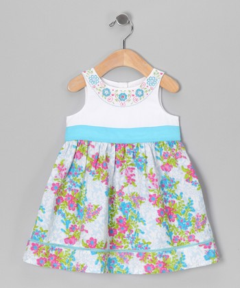Turquoise & White Floral Dress - Infant, Toddler & Girls