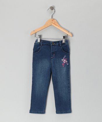 Blue Starflower & Heart Straight-Leg Jeans - Infant