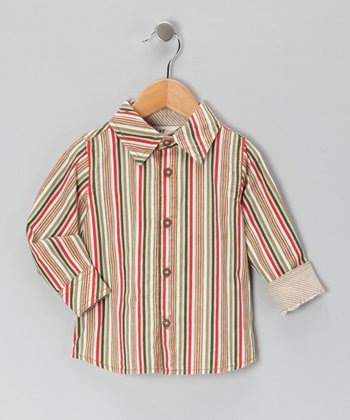 Brown & Green Stripe Button-Up - Infant & Toddler