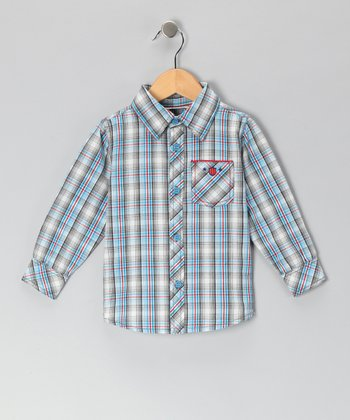 Blue & Red Checkered Plaid Button-Up - Infant