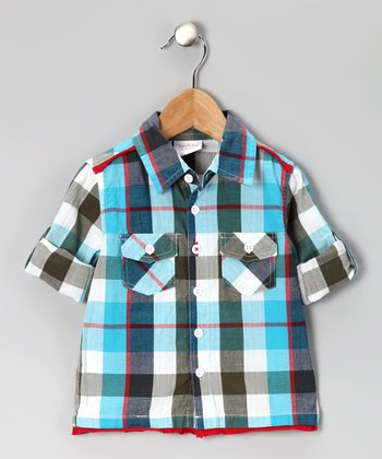 Blue Plaid Button-Up - Infant