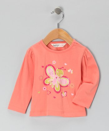 Peach Glitter Butterfly T-Shirt - Infant & Toddler