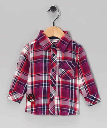Purple Badge Plaid Button-Up - Infant