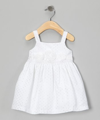 White Flower Appliqué Dress - Infant & Toddler
