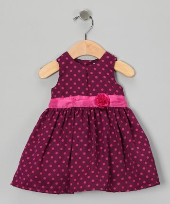 Purple Polka Dot Satin Dress - Infant & Toddler