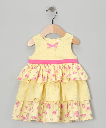 Yellow Rose Tiered Dress - Infant & Toddler
