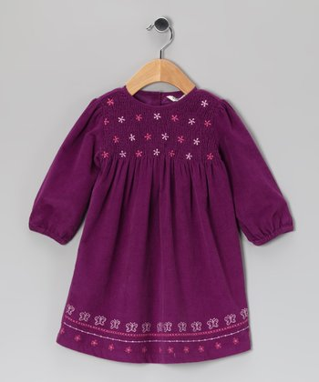 Purple Smocked Corduroy Dress - Infant & Toddler