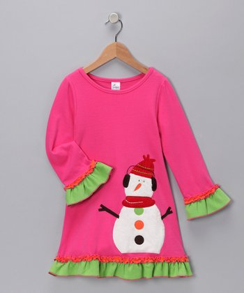 Pink Knit Snowman Dress - Infant, Toddler & Girls