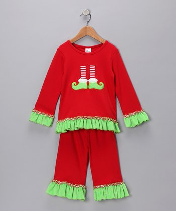 Red Elf Feet Tee & Pants - Infant & Girls