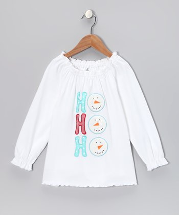 White 'Ho Ho Ho' Peasant Top - Infant, Toddler & Girls