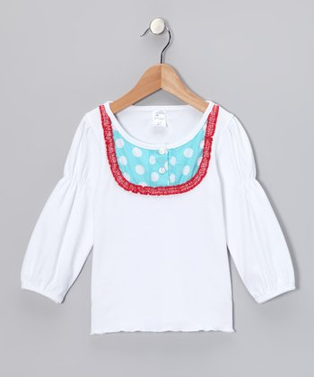 White & Aqua Polka Dot Bib Top - Infant, Toddler & Girls