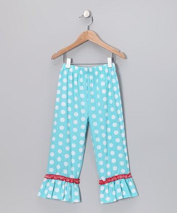 Aqua Polka Dot Ruffle Pants - Infant