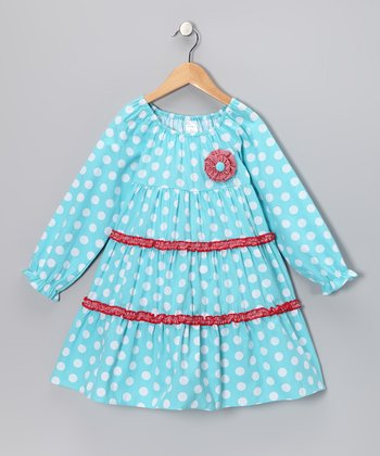 Aqua Polka Dot Tiered Dress - Toddler & Girls
