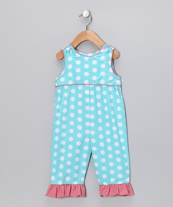 Aqua Polka Dot Overalls - Infant