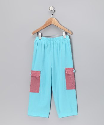 Aqua & Red Gingham Cargo Pants - Infant, Toddler & Girls
