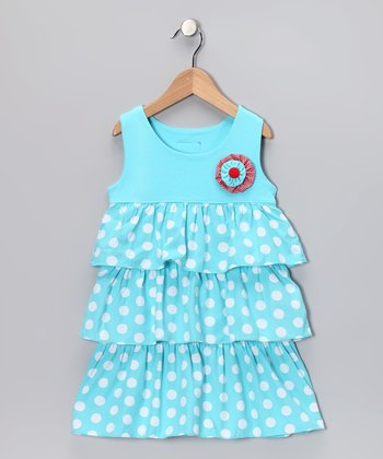 Aqua Polka Dot Tiered Ruffle Dress - Toddler