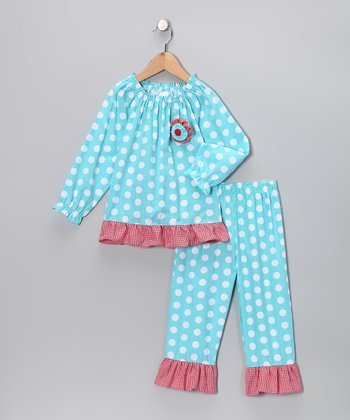 Aqua Polka Dot Top & Pants - Infant