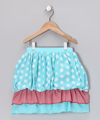 Aqua Polka Dot Tiered Bubble Skirt - Girls