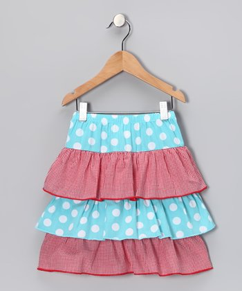 Aqua & Red Tiered Skirt - Girls