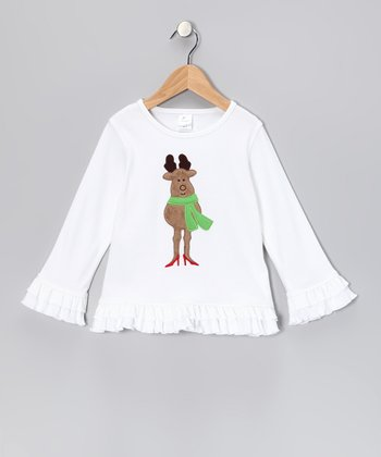 White Reindeer Ruffle Tee - Infant, Toddler & Girls