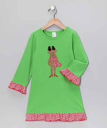 Green Reindeer Swing Dress - Toddler & Girls