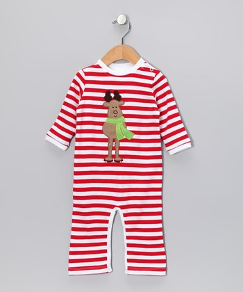 Red Stripe Reindeer Playsuit - Infant