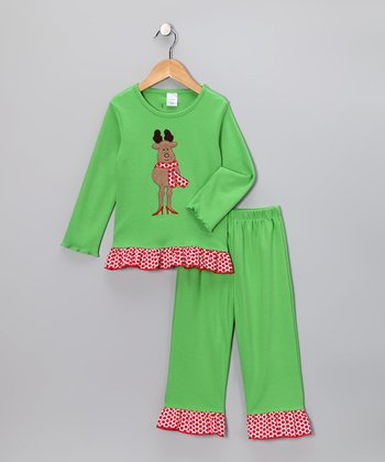 Lime Reindeer Top & Ruffle Pants - Infant, Toddler & Girls