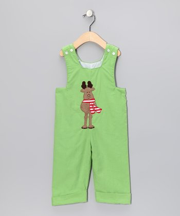 Lime Reindeer Overalls - Infant