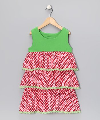 Red Polka Dot Tiered Ruffle Dress - Infant