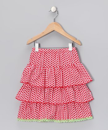 Red Polka Dot Tiered Ruffle Skirt - Infant & Girls